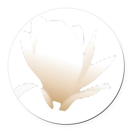 white lily flower Round Car Magnet
