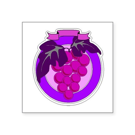 grapes Square Sticker 3&quot; x 3&quot;
