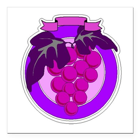 grapes Square Car Magnet 3&quot; x 3&quot;