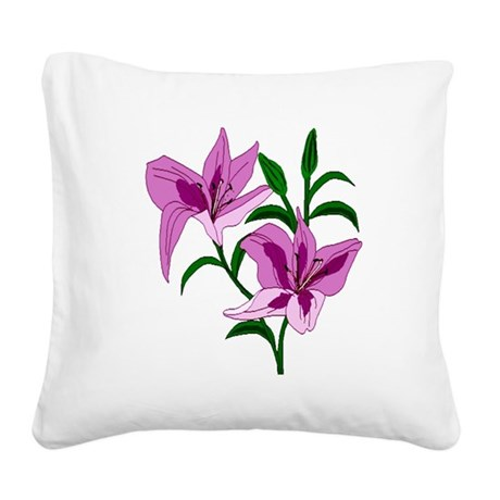 lilies Square Canvas Pillow
