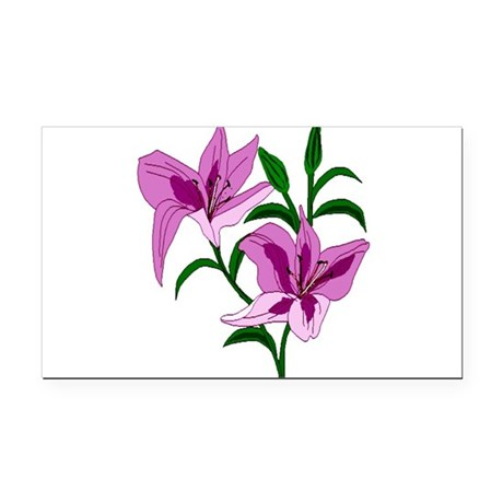 lilies Rectangle Car Magnet