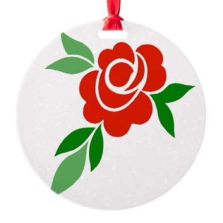 Red Rose Round Ornament