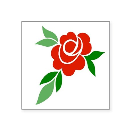 "Red Rose Square Sticker 3"" x 3"""