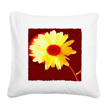 Hot Daisy Square Canvas Pillow