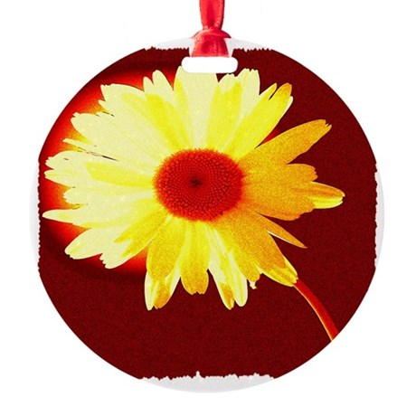 Hot Daisy Round Ornament