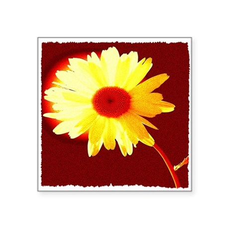 "Hot Daisy Square Sticker 3"" x 3"""