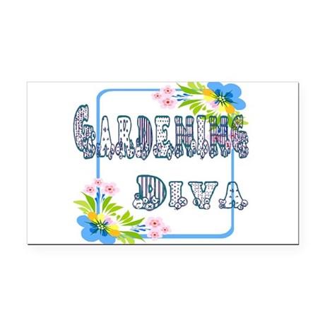 Gardening Diva Rectangle Car Magnet