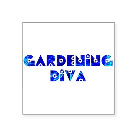 "Gardening Diva Square Sticker 3"" x 3"""