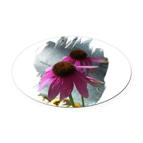 Windflowers Oval Car Magnet