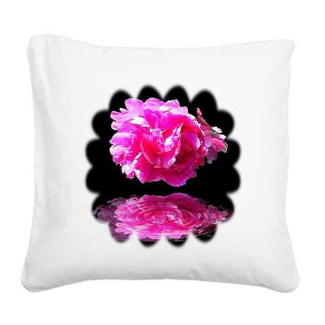 Peony Reflections Square Canvas Pillow