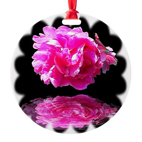 Peony Reflections Round Ornament