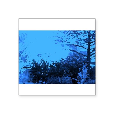 "Blue Garden Square Sticker 3"" x 3"""