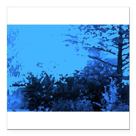 "Blue Garden Square Car Magnet 3"" x 3"""