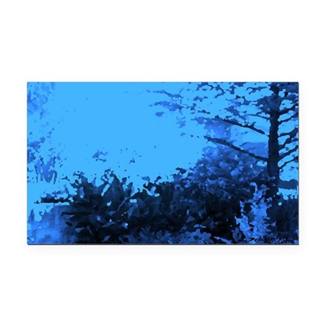 Blue Garden Rectangle Car Magnet