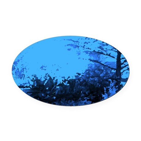 Blue Garden Oval Car Magnet
