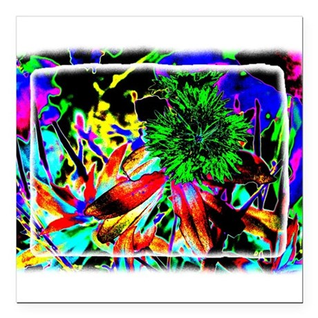 "Green Flower Square Car Magnet 3"" x 3"""
