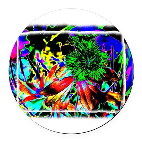 Green Flower Round Car Magnet