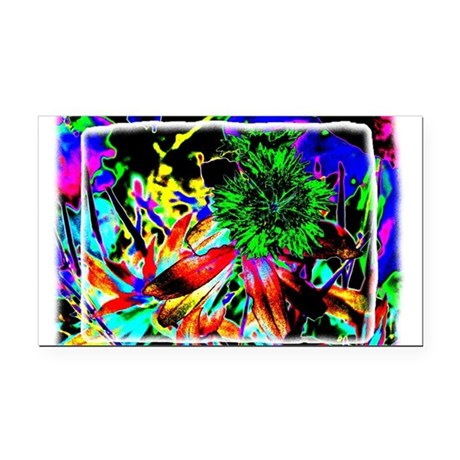 Green Flower Rectangle Car Magnet