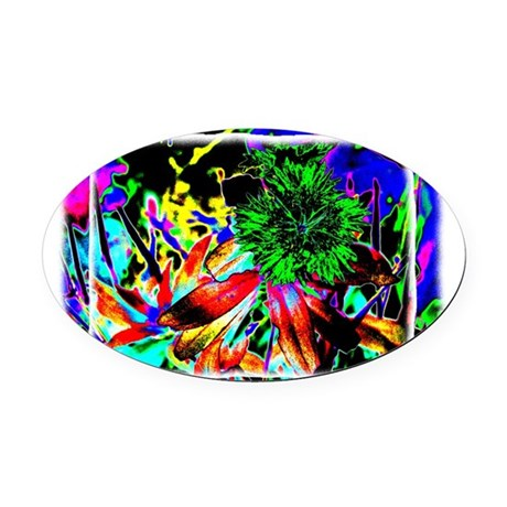 Green Flower Oval Car Magnet