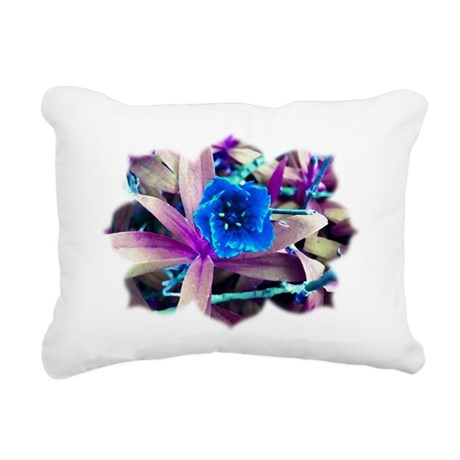 Blue Flower Rectangular Canvas Pillow