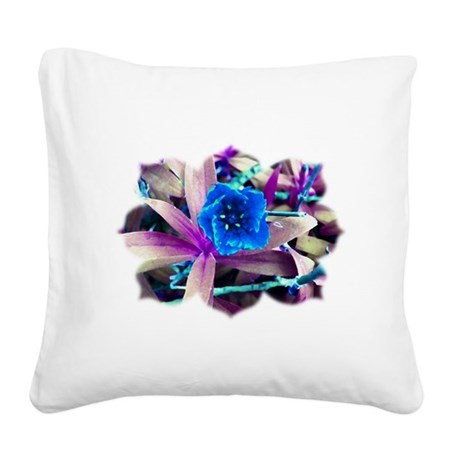 Blue Flower Square Canvas Pillow