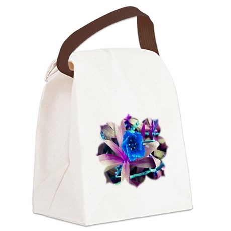 Blue Flower Canvas Lunch Bag