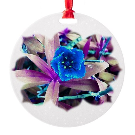 Blue Flower Round Ornament