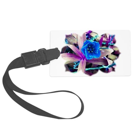 Blue Flower Large Luggage Tag