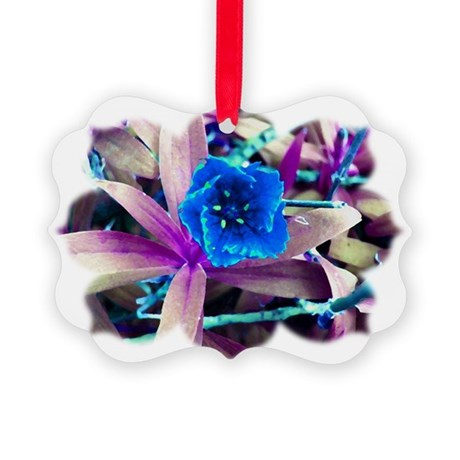 Blue Flower Picture Ornament