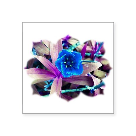 "Blue Flower Square Sticker 3"" x 3"""