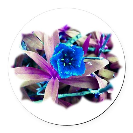 Blue Flower Round Car Magnet