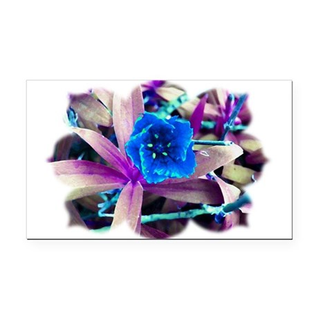Blue Flower Rectangle Car Magnet