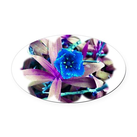 Blue Flower Oval Car Magnet