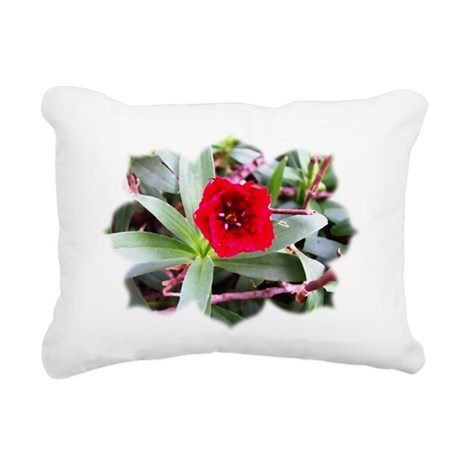 Red Flower Rectangular Canvas Pillow