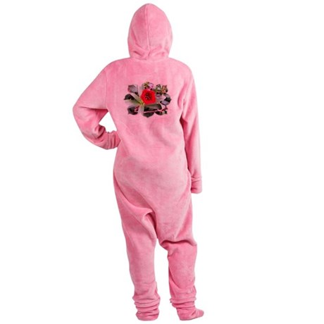 Red Flower Footed Pajamas