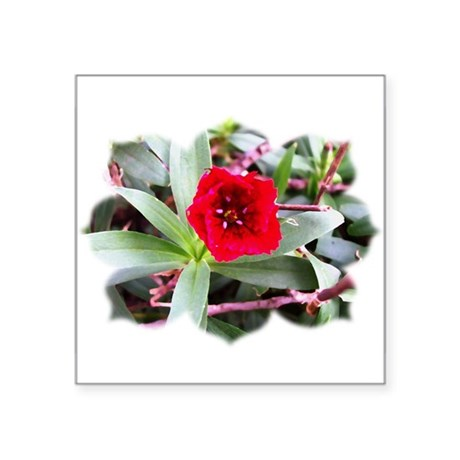 Red Flower Square Sticker 3&quot; x 3&quot;