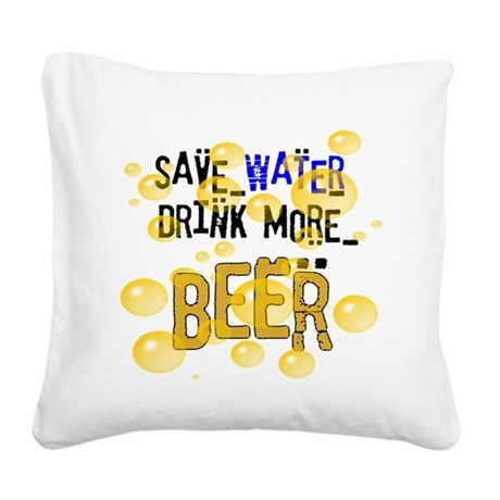 drinkbeer.png Square Canvas Pillow