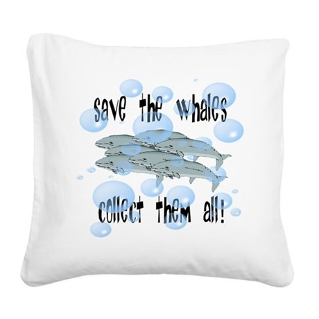 whales2.png Square Canvas Pillow