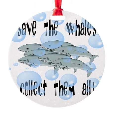 whales2.png Round Ornament