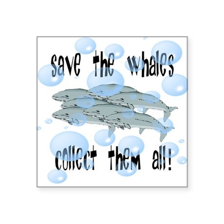 whales2.png Square Sticker 3&quot; x 3&quot;