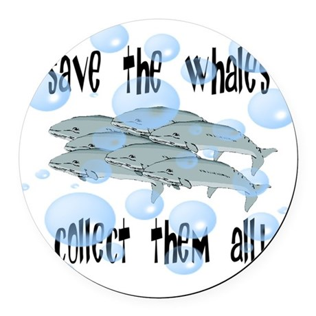 whales2.png Round Car Magnet