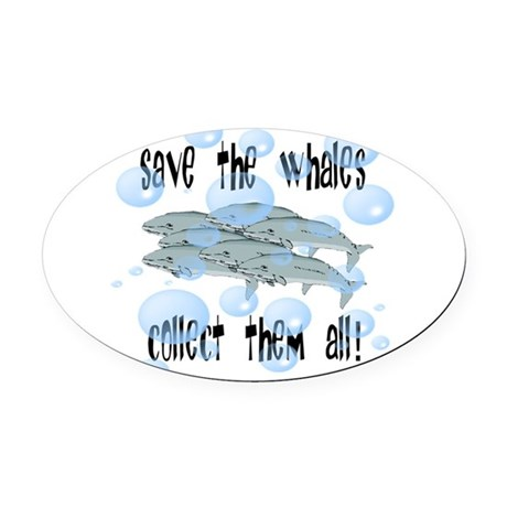 whales2.png Oval Car Magnet