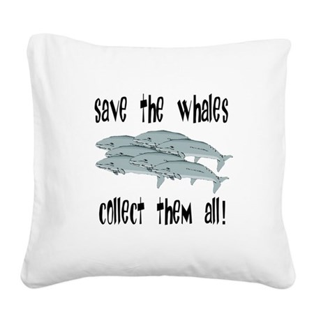 whales1.png Square Canvas Pillow