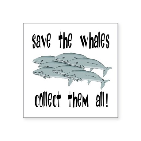 "whales1.png Square Sticker 3"" x 3"""
