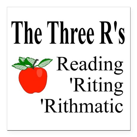 "The Three Rs Square Car Magnet 3"" x 3"""