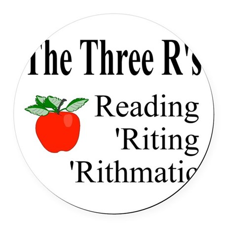 The Three Rs Round Car Magnet