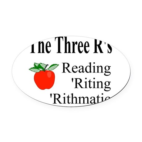 The Three Rs Oval Car Magnet