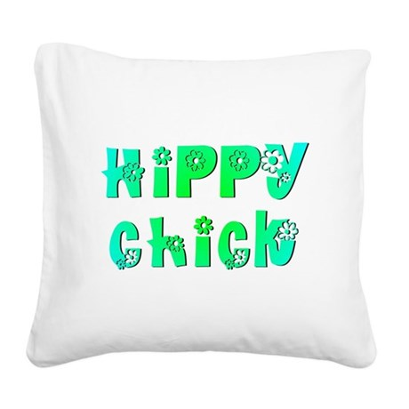 Hippy Chick Square Canvas Pillow