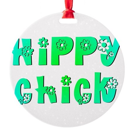 Hippy Chick Round Ornament
