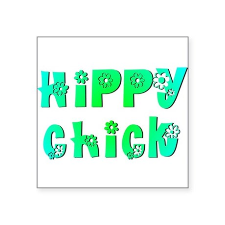 "Hippy Chick Square Sticker 3"" x 3"""